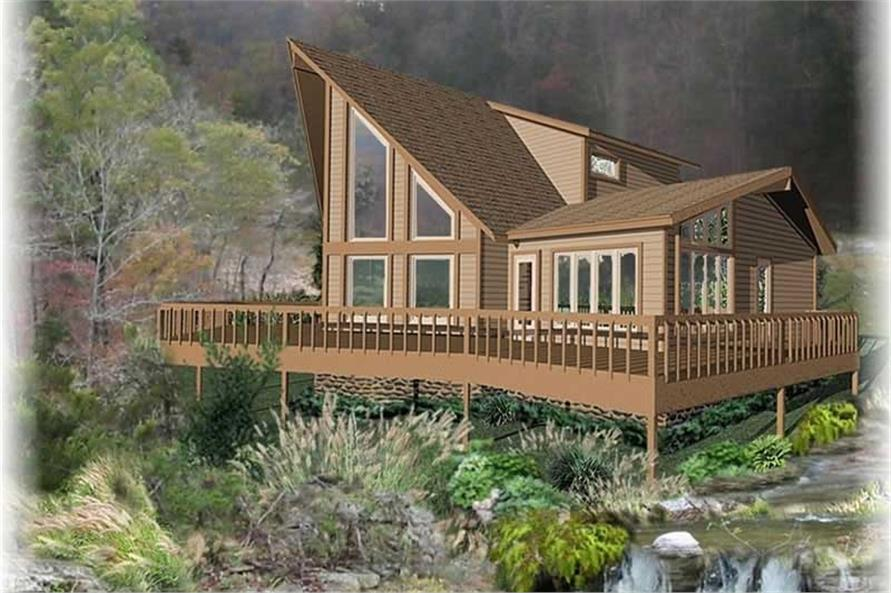 Front elevation of Log Cabin home (ThePlanCollection: House Plan #170-2752)