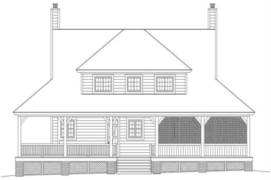 Home Plan Rear Elevation of this 3-Bedroom,2200 Sq Ft Plan -170-2777