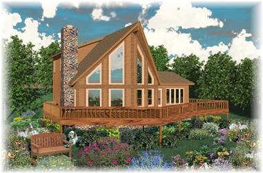 3-Bedroom, 1828 Sq Ft Log Cabin House Plan - 170-2780 - Front Exterior
