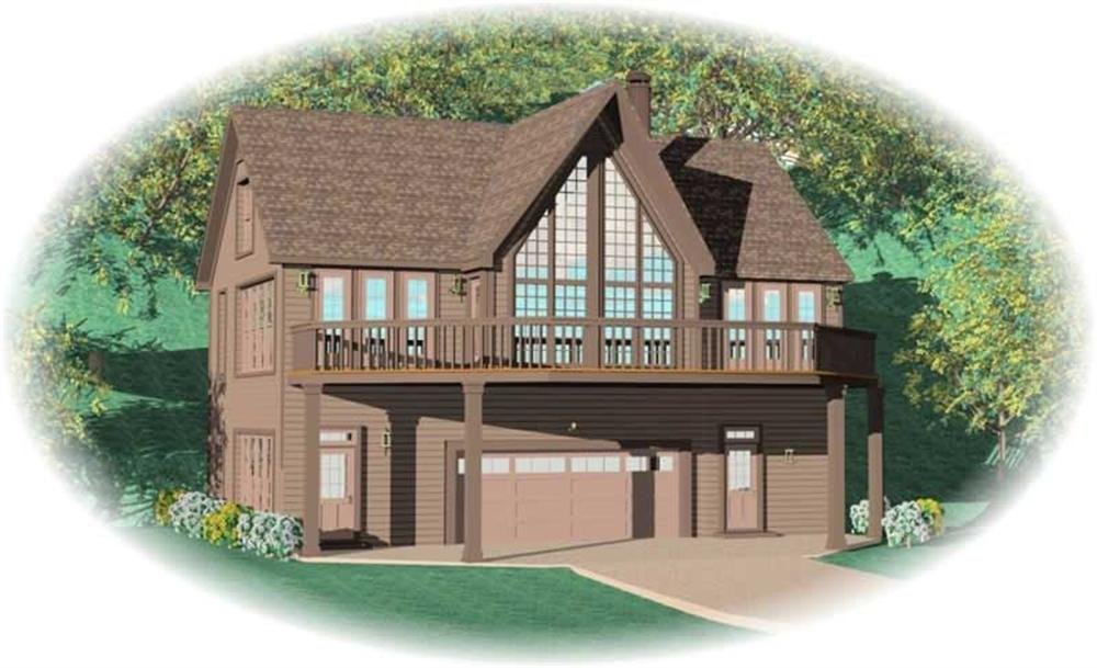 Front elevation of Vacation Homes home (ThePlanCollection: House Plan #170-2796)
