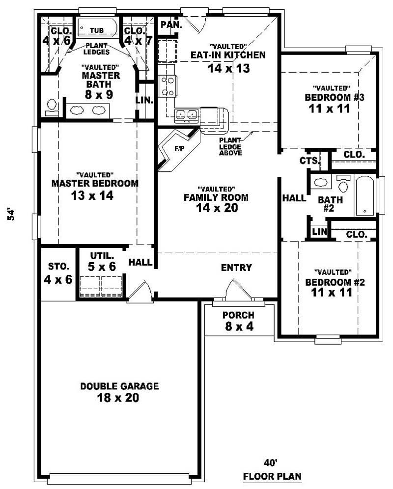 3 bedrm 1322 sq ft ranch house plan 170 2833 for Reverse ranch floor plans