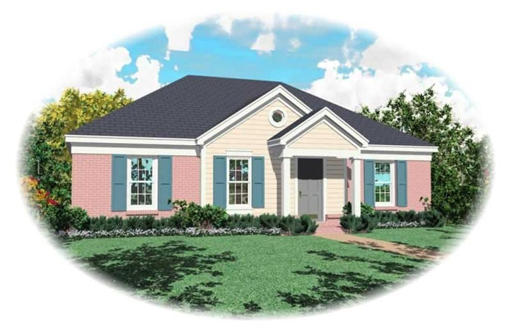 Front elevation of Small House Plans home (ThePlanCollection: House Plan #170-2887)