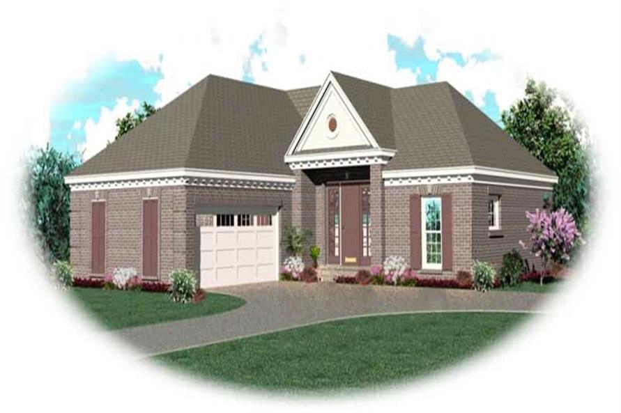 Front elevation of Ranch home (ThePlanCollection: House Plan #170-2955)
