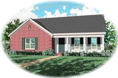 3-Bedroom, 1289 Sq Ft Country House Plan - 170-3034 - Front Exterior