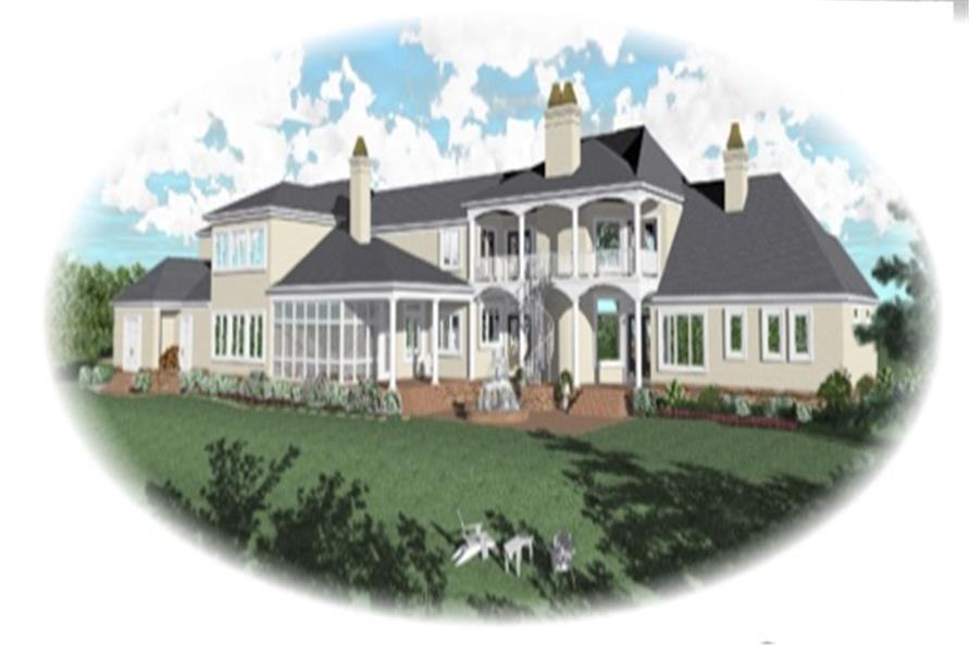Home Plan Rear Elevation of this 5-Bedroom,7489 Sq Ft Plan -170-3088