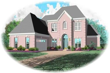 3-Bedroom, 3210 Sq Ft French Home Plan - 170-3149 - Main Exterior