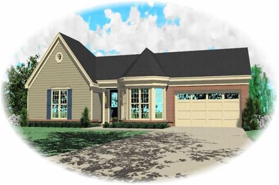 Front elevation of Ranch home (ThePlanCollection: House Plan #170-3198)