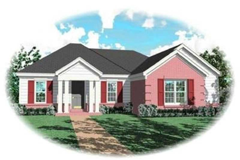 Front elevation of Contemporary home (ThePlanCollection: House Plan #170-3254)