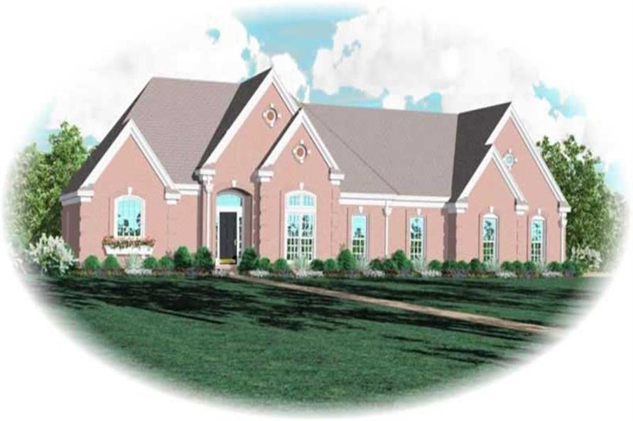 4-Bedroom, 3119 Sq Ft French Home Plan - 170-3334 - Main Exterior