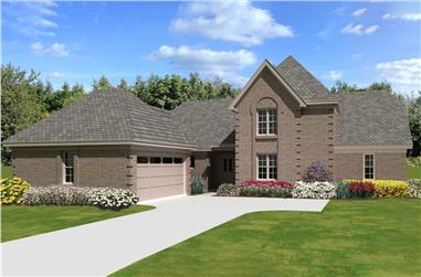 4-Bedroom, 2186 Sq Ft French Home Plan - 170-3338 - Main Exterior