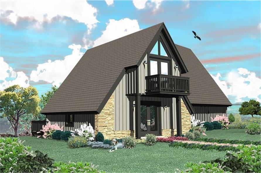 Color rendering of A Frame home (ThePlanCollection: House Plan #170-3361)