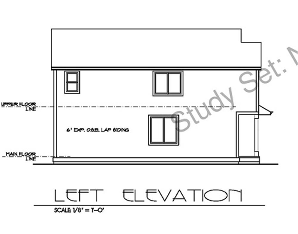171-1155 house plan left elevation