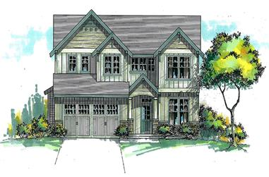 Front elevation of Craftsman home (ThePlanCollection: House Plan #171-1293)