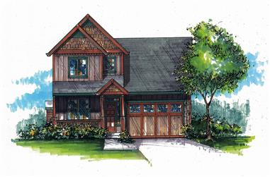 Front elevation of Craftsman home (ThePlanCollection: House Plan #171-1295)