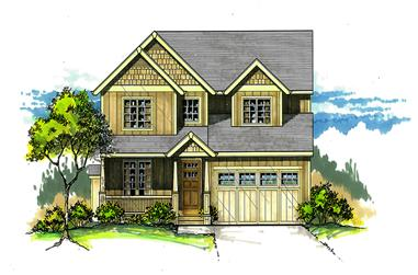 Front elevation of Craftsman home (ThePlanCollection: House Plan #171-1296)