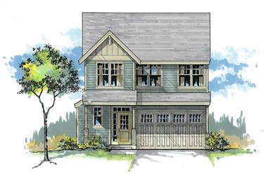 Front elevation of Craftsman home (ThePlanCollection: House Plan #171-1297)