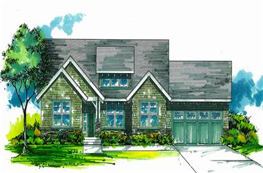 Front elevation of Craftsman home (ThePlanCollection: House Plan #171-1298)