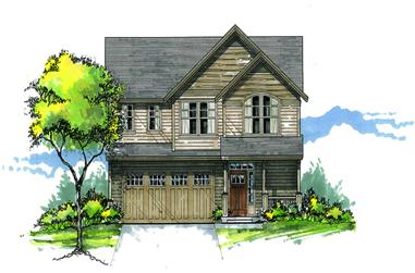 Front elevation of Craftsman home (ThePlanCollection: House Plan #171-1301)