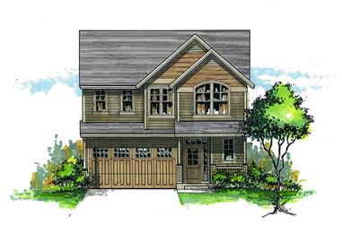 Front elevation of Craftsman home (ThePlanCollection: House Plan #171-1302)