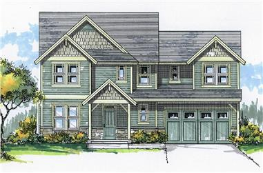 Front elevation of Craftsman home (ThePlanCollection: House Plan #171-1307)