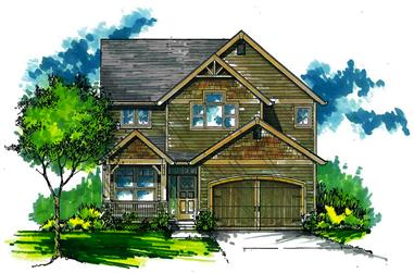 Front elevation of Craftsman home (ThePlanCollection: House Plan #171-1309)