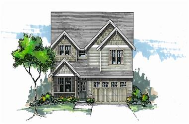 Front elevation of Craftsman home (ThePlanCollection: House Plan #171-1316)
