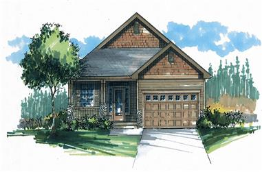 Front elevation of Craftsman home (ThePlanCollection: House Plan #171-1319)