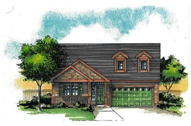 Front elevation of Craftsman home (ThePlanCollection: House Plan #171-1321)
