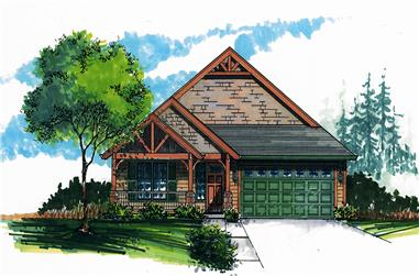 Front elevation of Craftsman home (ThePlanCollection: House Plan #171-1323)