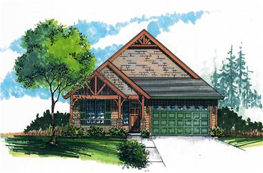 Front elevation of Craftsman home (ThePlanCollection: House Plan #171-1324)