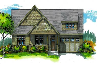 Front elevation of Craftsman home (ThePlanCollection: House Plan #171-1325)