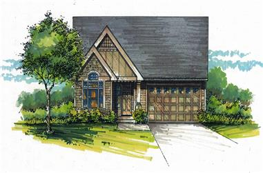 Color rendering of Cottage home design (ThePlanCollection: House Plan #171-1326)