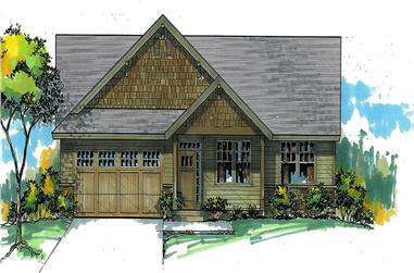 Front elevation of Craftsman home (ThePlanCollection: House Plan #171-1329)
