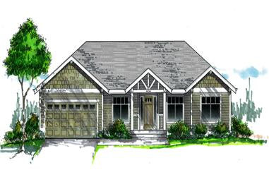 Front elevation of Craftsman home (ThePlanCollection: House Plan #171-1332)