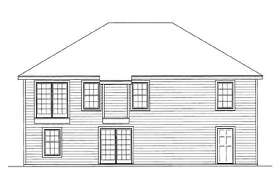 Home Plan Rear Elevation of this 4-Bedroom,1257 Sq Ft Plan -172-1003