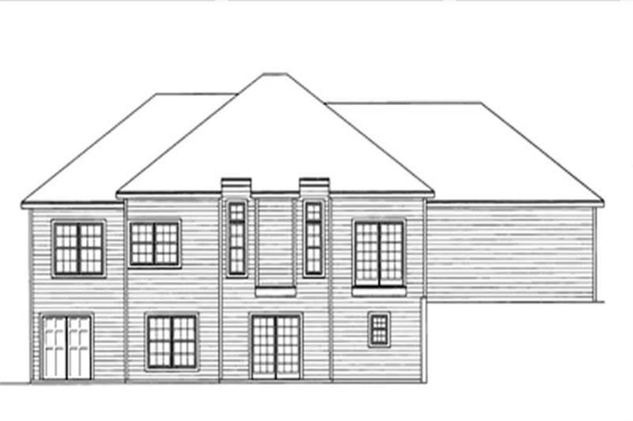 Home Plan Rear Elevation of this 4-Bedroom,1534 Sq Ft Plan -172-1009