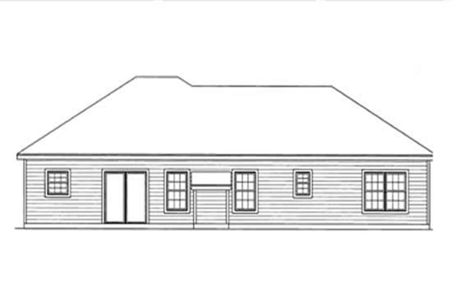 Home Plan Rear Elevation of this 3-Bedroom,1372 Sq Ft Plan -172-1016