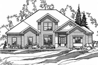 4-Bedroom, 3016 Sq Ft European House Plan - 172-1020 - Front Exterior