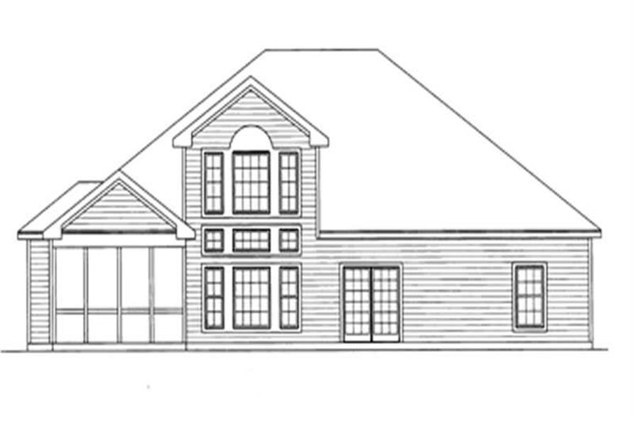 Home Plan Rear Elevation of this 4-Bedroom,3016 Sq Ft Plan -172-1020