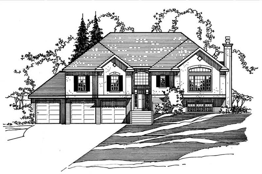 3-Bedroom, 1890 Sq Ft European House Plan - 172-1022 - Front Exterior