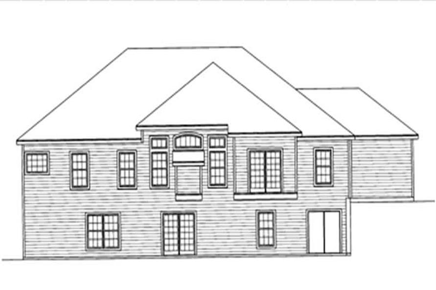 Home Plan Rear Elevation of this 4-Bedroom,2098 Sq Ft Plan -172-1023