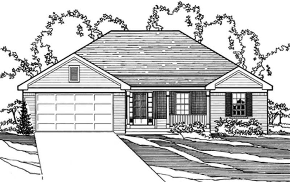 Front elevation of European home (ThePlanCollection: House Plan #172-1032)