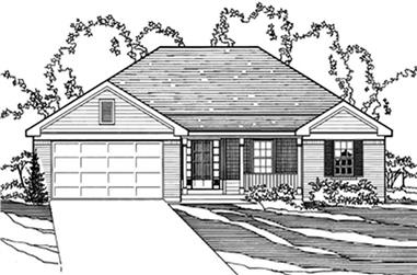 3-Bedroom, 1570 Sq Ft European House Plan - 172-1032 - Front Exterior
