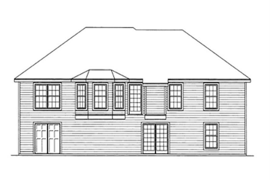 Home Plan Rear Elevation of this 4-Bedroom,1555 Sq Ft Plan -172-1034