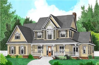 4-Bedroom, 2705 Sq Ft Country House Plan - 173-1000 - Front Exterior