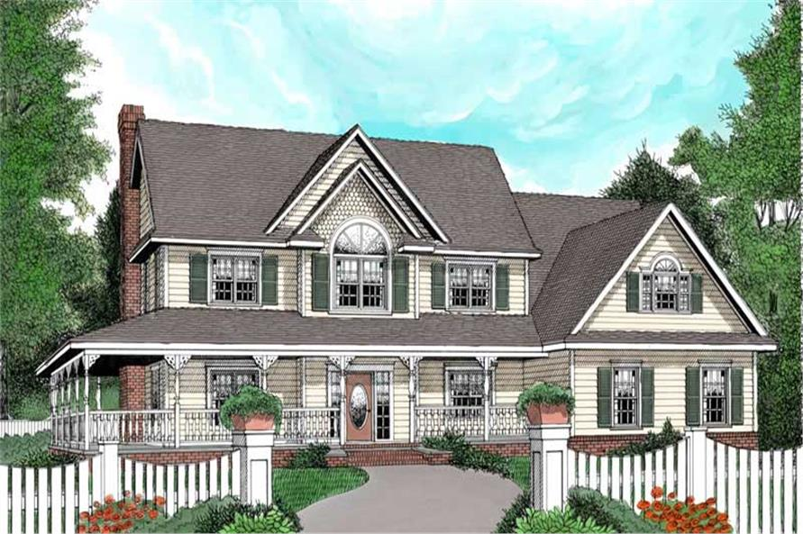 4-Bedroom, 2579 Sq Ft Country Home Plan - 173-1002 - Main Exterior