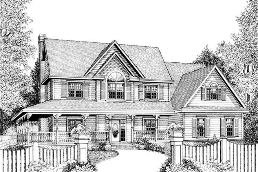 Home Plan Front Elevation of this 4-Bedroom,2579 Sq Ft Plan -173-1002