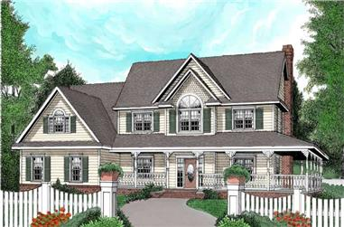 4-Bedroom, 2989 Sq Ft Country Home Plan - 173-1003 - Main Exterior
