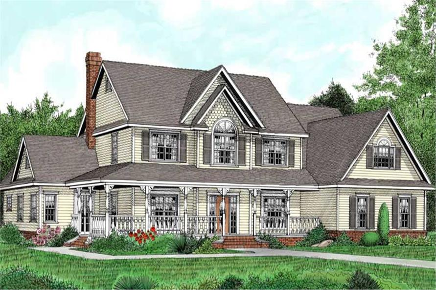 5-Bedroom, 3464 Sq Ft Country House Plan - 173-1005 - Front Exterior