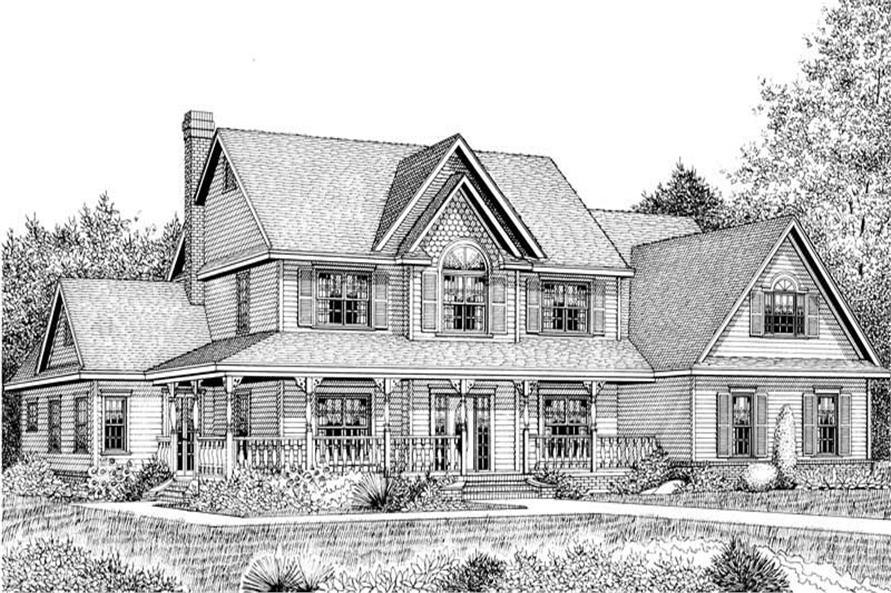 Home Plan Front Elevation of this 5-Bedroom,3464 Sq Ft Plan -173-1005